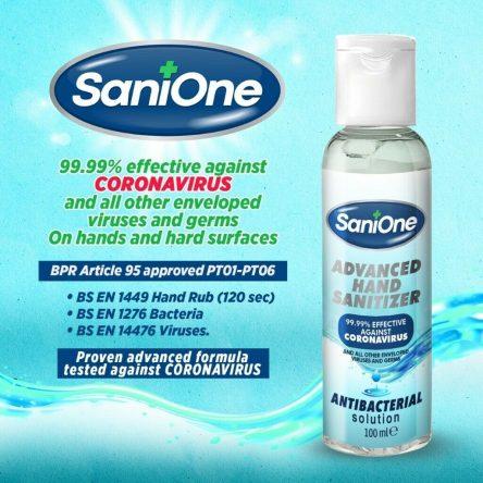 SaniOne Hand Sanitiser – Covid-19 tested – Bulk Buy x 1000 bottles